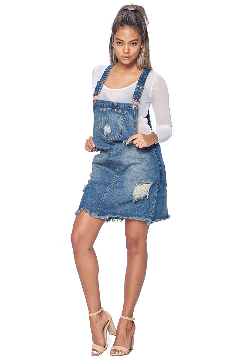 9ef7ca9073a TwiinSisters Women s Casual Denim Destroyed Overall Skirt Dresses for Women  Plus  Amazon.ca  Clothing   Accessories