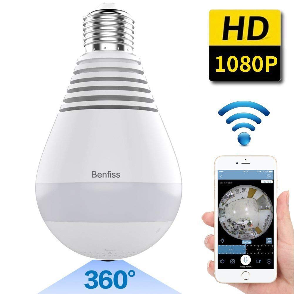 1080P WiFi IP Camera Bulb, Wireless HD Home Security Camera Panoramic Bulb LED Light 360 Degree Fisheye With Two-way Audio Night Vision Motion Detection for Outdoor Indoor