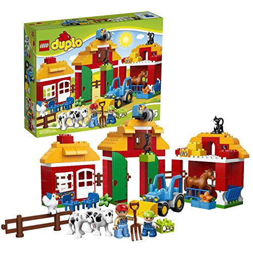 Lego Duplo Year 2014 Preschool Building Toy Set #10525 - BIG FARM with a Barn, Farmhouse with Redesigned Roof, Stable, Buildable Tractor and a Fence Plus Farmer, Child, Horse, Calf, Cow, Chicken and a Cat Figure (Total Pieces: 121)