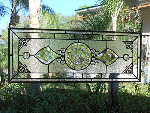 OOAK Vintage Window Transom, Heisey Colonial Depression Glass Stained Glass Plate Panel, Stained Glass Window Valance, Handmade Home (Stained Glass Transom)