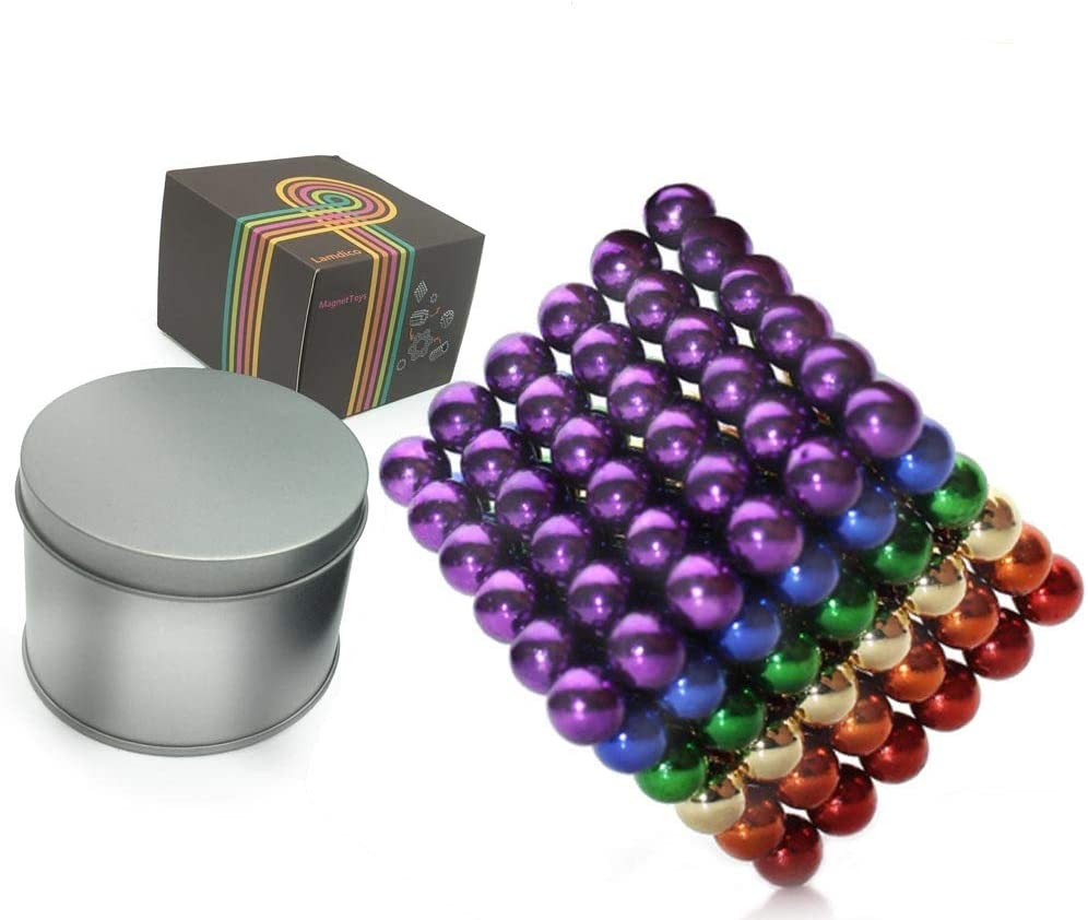 Yetech Rainbow Magnetic Balls 5mm 222Pcs Fidget Gadget Toys Rare Earth Magnets Office Desk Toy Desk Games Magnet Toys Magnetic Beads Stress Relief Toys for Adults