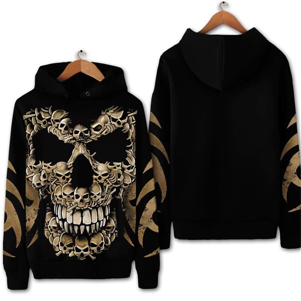 LLRCAZR Hoodie Rock Europe Devil Bone Pattern Rundhals Mit Kapuze Pullover Mantel Mit Kapuze Kleidung Frühling und Herbst Plus Samt Große Größe