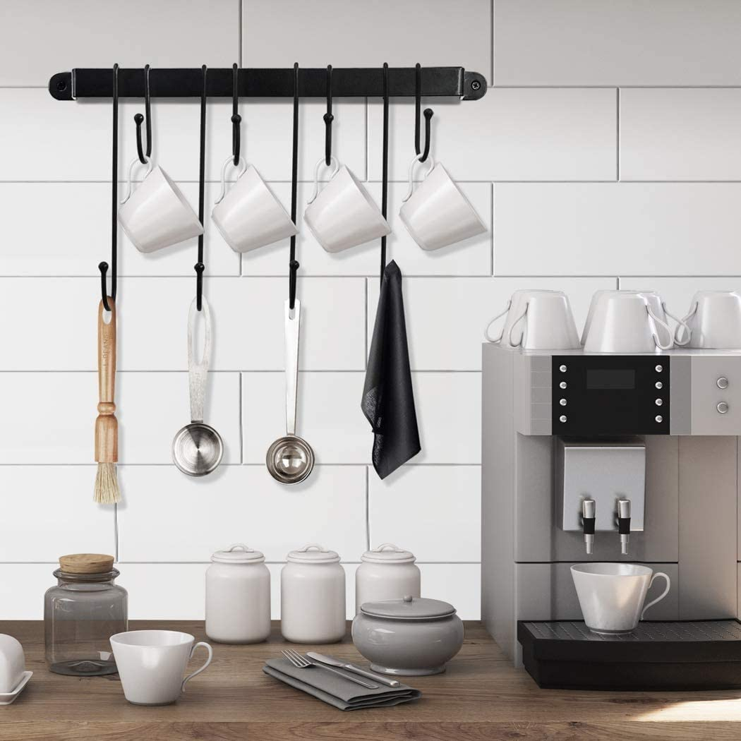 16 Inch//Black RETYLY Coffee Mug Rack,Wall Mounted Coffee Cup Holder with Flexible Hooks,for Mugs,Teacups,Kitchen Utensils