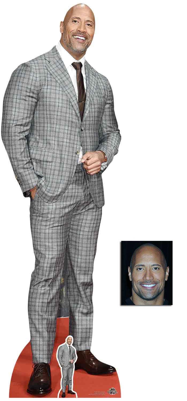 Fan Pack - Dwayne Johnson Checked Suit Lifesize and Mini Cardboard Cutout / Standup - Includes 8x10 Star Photo BundleZ-4-FanZ Fan Packs