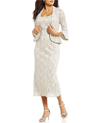 d3a9ebadd94 Image Unavailable. Image not available for. Color  RM Richards Women s  Sequin Lace Midi Dress with Jacket - Mother of The Bride Wedding Dresses