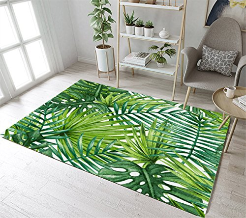 LB Jungle Rug Tropical Floral Green Leaves Palm Rug for Kids Playroom Non Slip Soft Living Dining Room Bedroom Rugs Floor Mat Perfect Home Decor - Print Rug Leaf