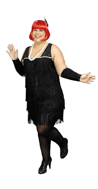 Narrenkiste K31250531-52-54 schwarz Damen Fransen Kleid Party Kostüm Gr.52-54