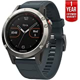 Garmin Fenix 5 Multisport 47mm GPS Watch - Silver with Granite Blue Band (010-01688-01) + 1 Year Extended Warranty