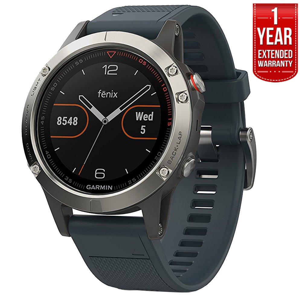 Garmin Fenix 5 Multisport 47mm GPS Watch - Silver with Granite Blue Band (010-01688-01) + 1 Year Extended Warranty by Garmin