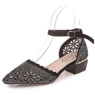 Femmes Talons hauts Four Seasons Chaussures de travail simples chaussures à talons épais noir diamant rouge GAOLIXIA
