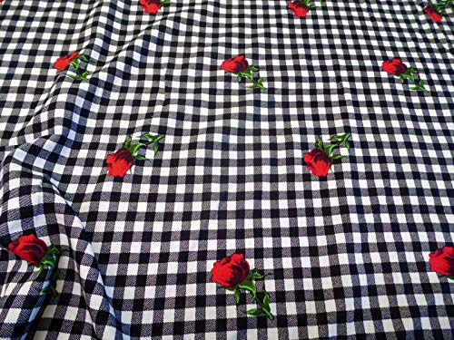 - Discount Fabric Challis Rayon Apparel Black White Check Red Rose Floral G208
