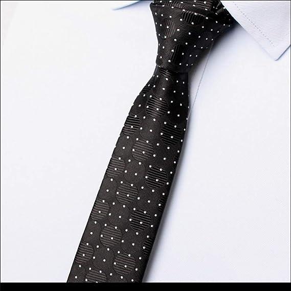 HONG-Accessories Corbata Negra para Hombre Estrecho 5cm Casual, A ...