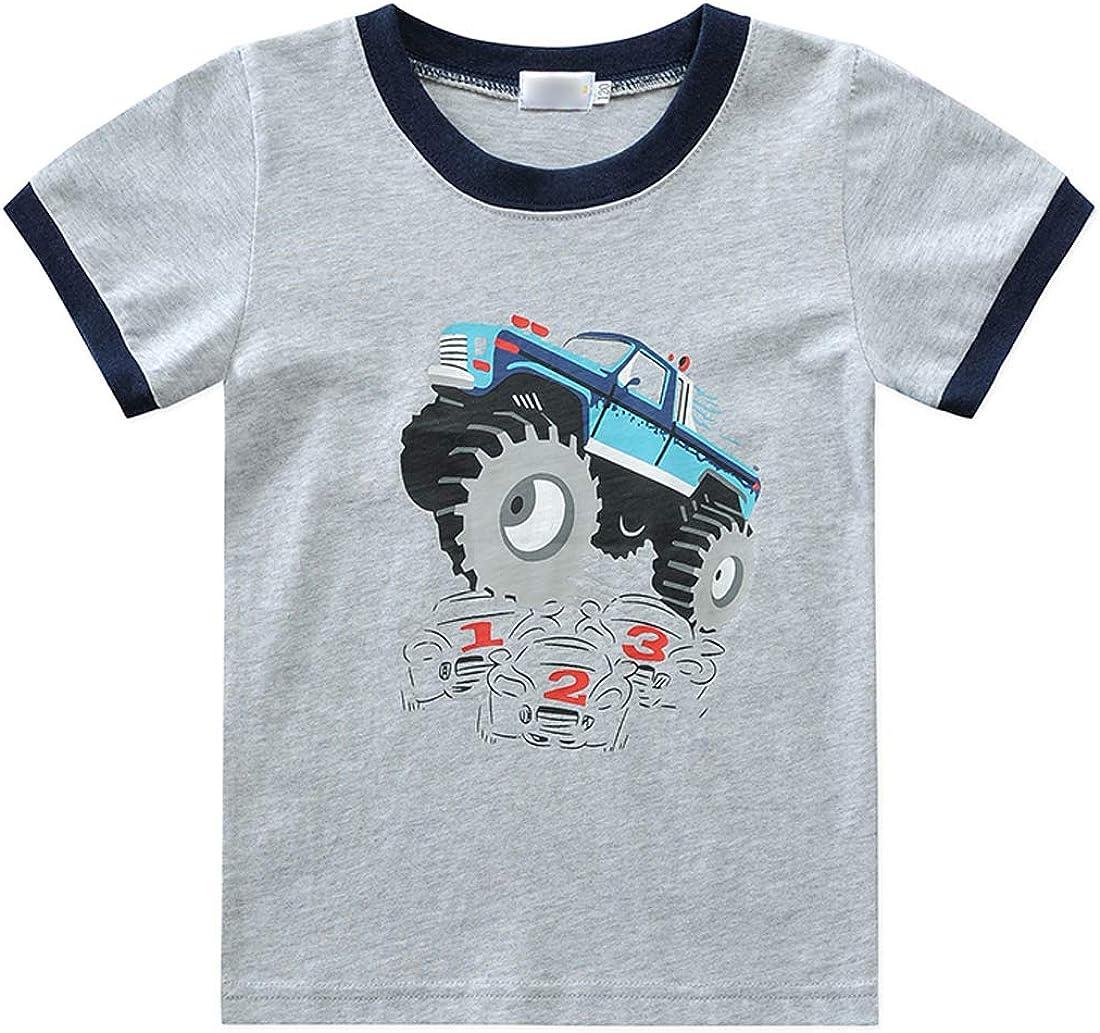 Boys 2 Piece Summer Pjs Outfit Cute Kids Top and Shorts Pajama Sets Cartoon Dinosaur Sleepwear 1-7 Years