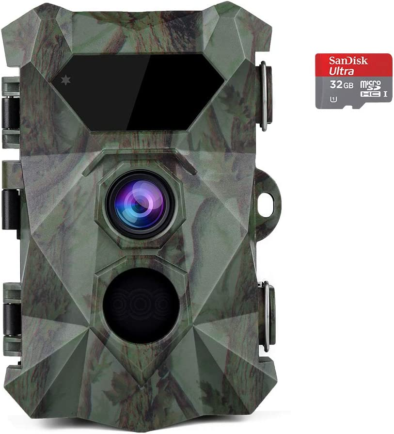 "Coolife Trail Game Camera, 2.7K 20MP Hunting Wildlife Camera with 46Pcs IR LEDs Night Vision 0.1S Motion Activated 2.4"" LCD IP66 Waterproof, with 32GB Card"
