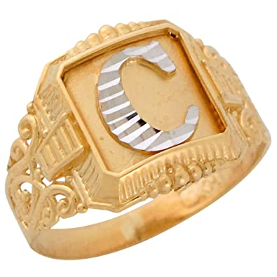 10k two tone gold antique and filigree design mens fancy initial letter c ring