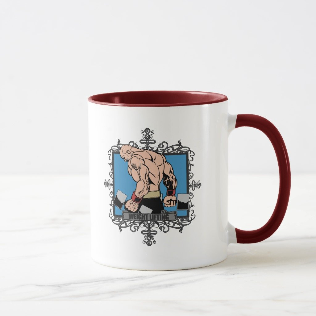 Zazzle Aggressive Weight Lifting曇りガラスビールマグカップ 11 oz, Combo Mug レッド e2575993-7f7b-3df8-ade2-10b981d7567a B078FH33WB  マルーン 11 oz, Combo Mug