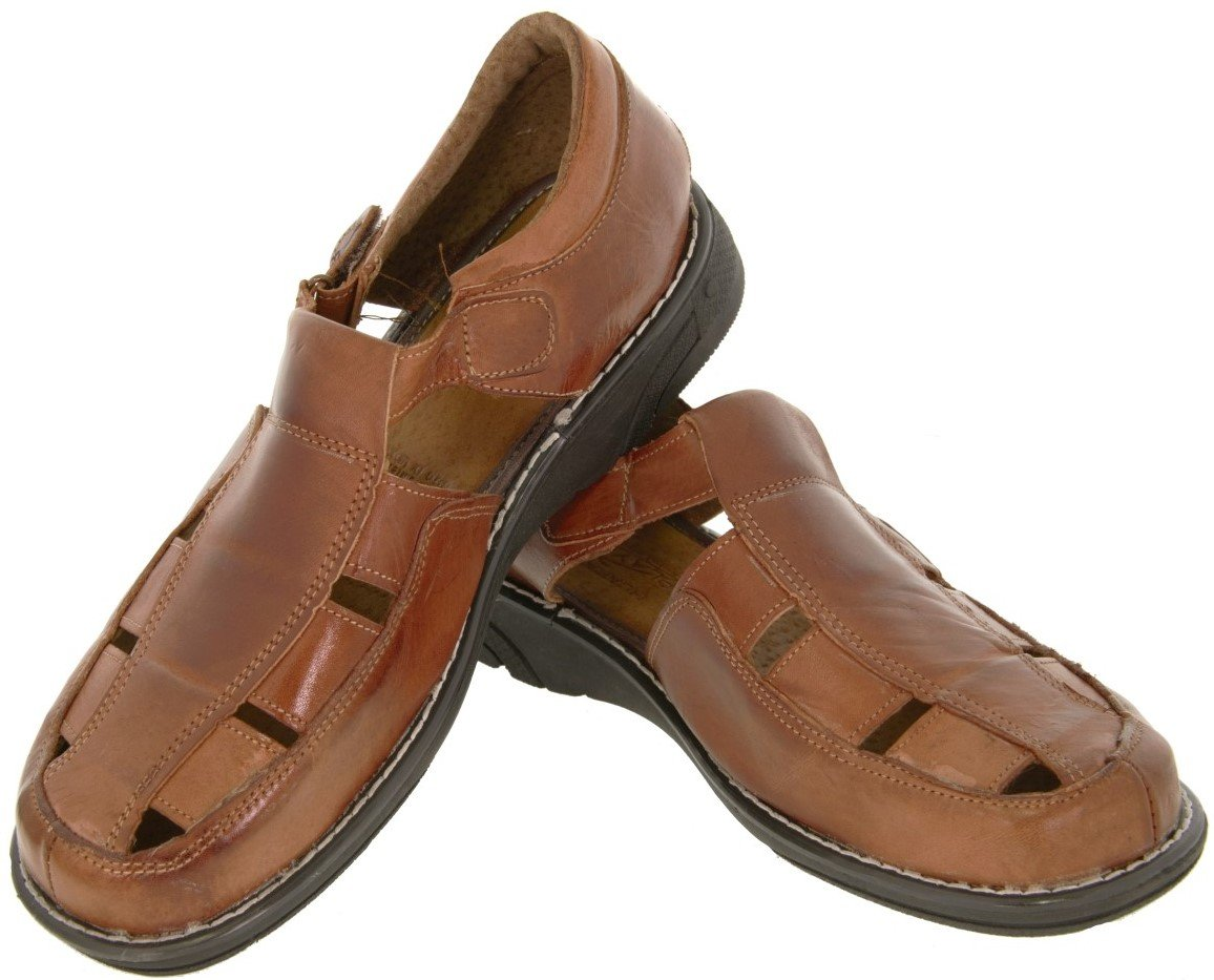 Men's 006 Rustic Cognac All Real Leather Mexican Strap Huaraches Open Toe 9