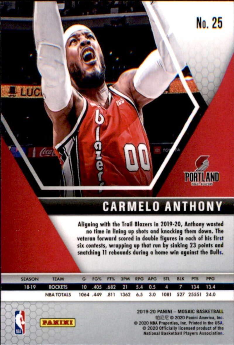 2019-20 Panini Mosaic #25 Carmelo Anthony Portland Trail Blazers Basketball Card