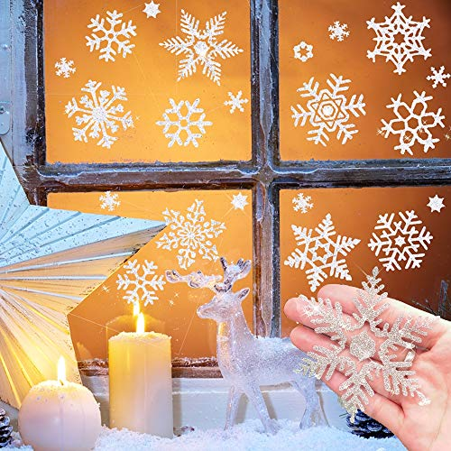 114 pcs Glitter Snowflake Window Clings Decal , Shining Reusable Static Stickers for Christmas Window Decorations, Xmas Ornaments, Winter Wonderland, Holiday, Shop, Home Décor Assorted Designs 6 Sheet