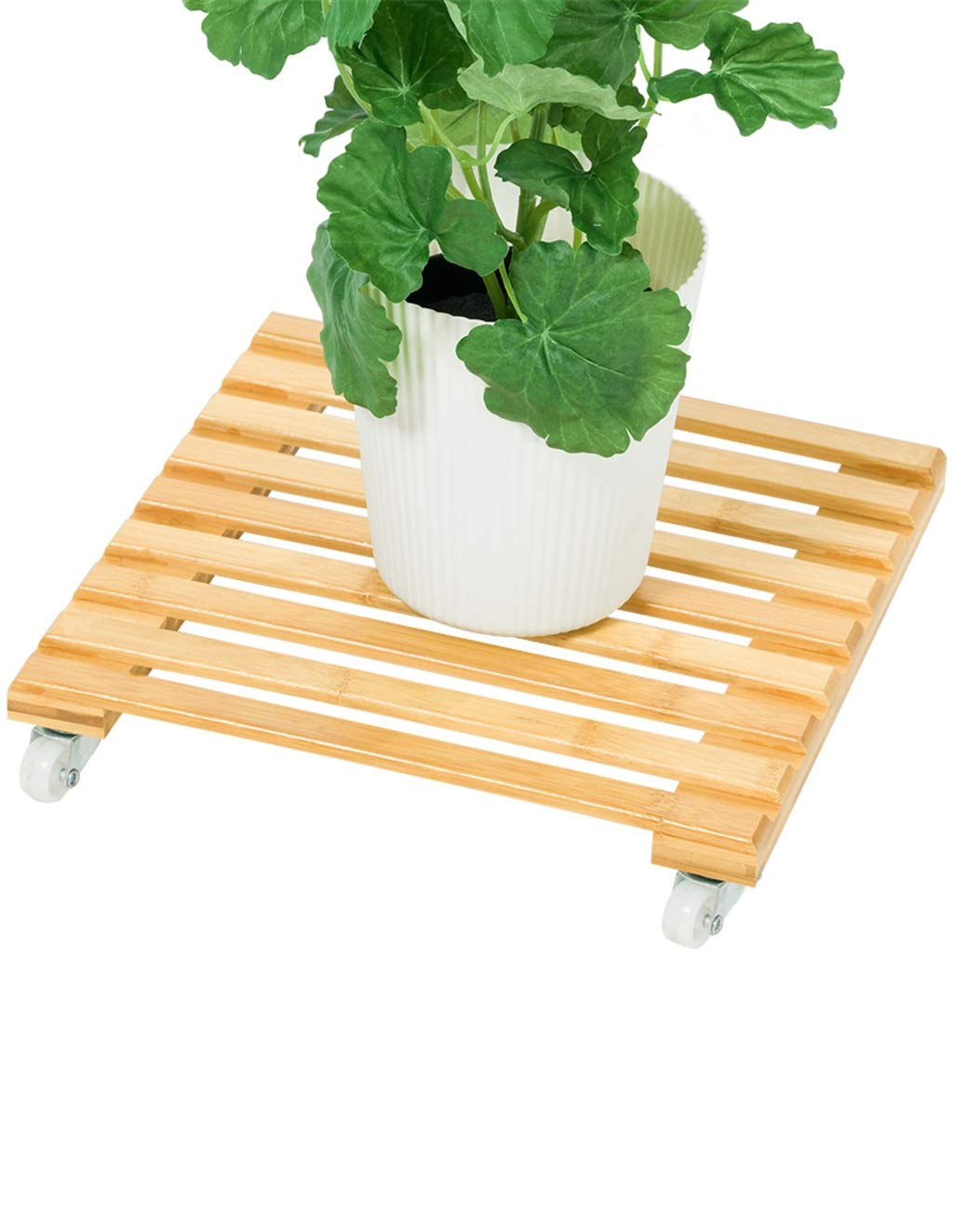 Echotang Bamboo Flowerpot Display Rack Caster Moveable Flower Stand, Light Brown by Echotang