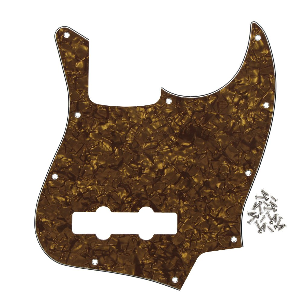 FLEOR Celluloid Pickguard Scratch Plate w/Mounting Screws Set for American Standard Fender Jazz Bass,4Ply Golden Pearl