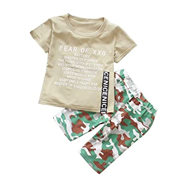 Kinder Baby Jungen Mädchen Sommer Outfit Kurzarm Langarm T Shirt Top Hose Set