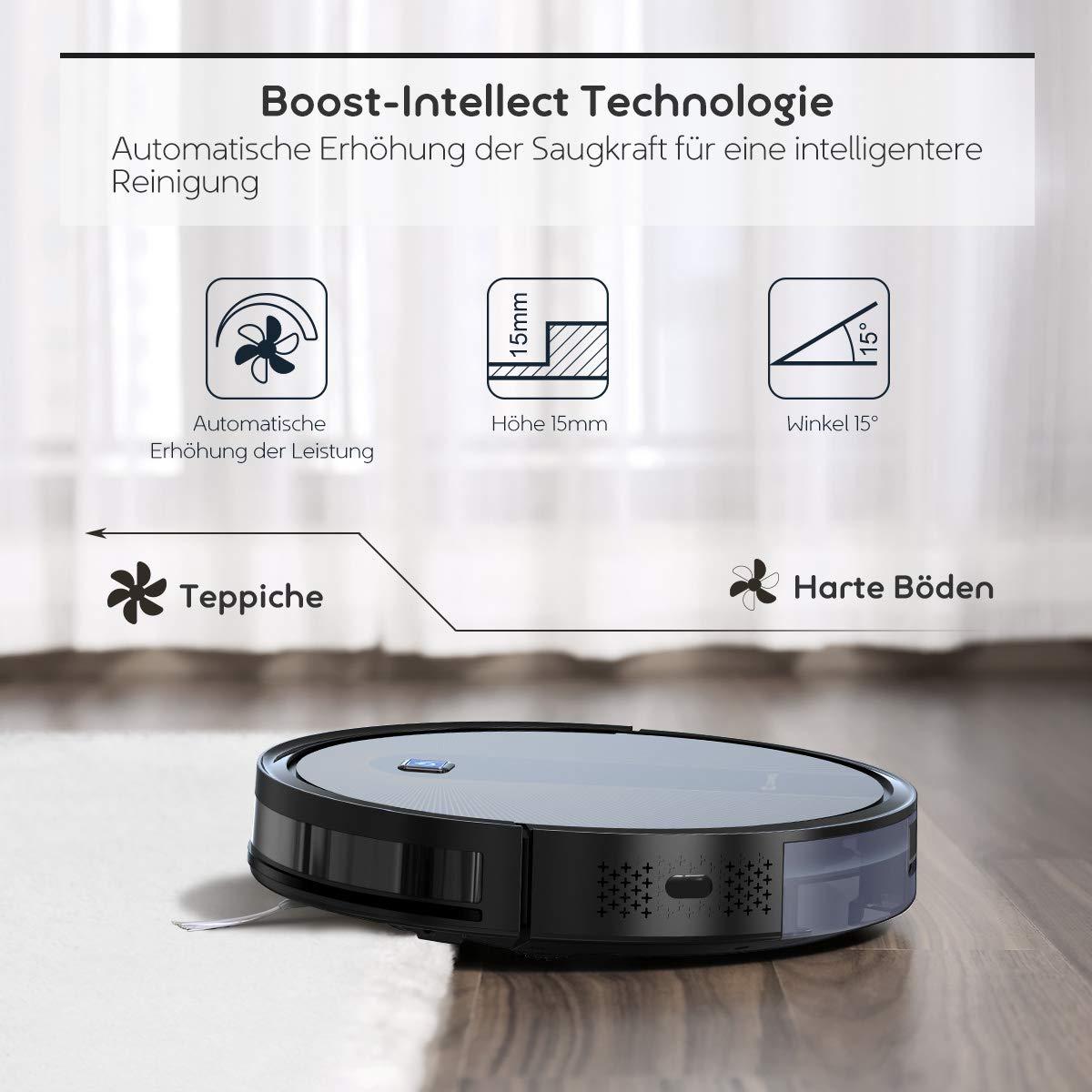 Coredy R600 limpia suelos duros alfombras y madera dura ideal para propietarios de mascotas autocierre Robot aspirador con gran fuerza de succi/ón 1600Pa