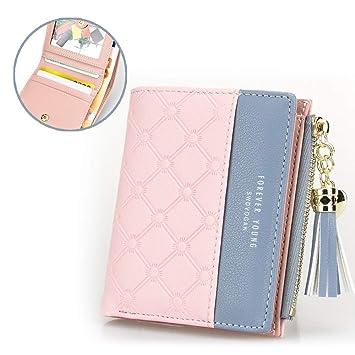 CXSHNH New Tassel Zipper Purse Pink WomanS Wallet Carteras de Cuero de Doble Color para Euro