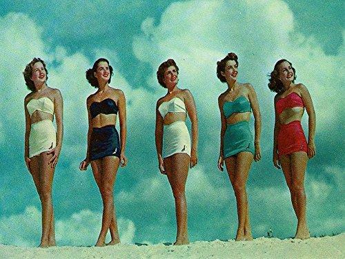 (Buyartforless Bathing Beauties 16x12 Art Print Poster Vintage Ladies in Pin Up Swimsuits Made in The)