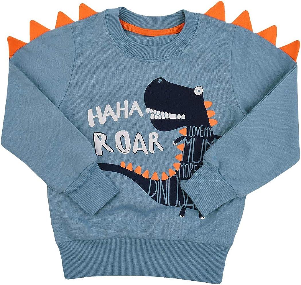 Tkria Sweat Enfant Garçon Sweat Shirt Sweater Pull Chaud Tops Bébé Cartoon Dinosaure 1 2 3 4 5 6 Ans