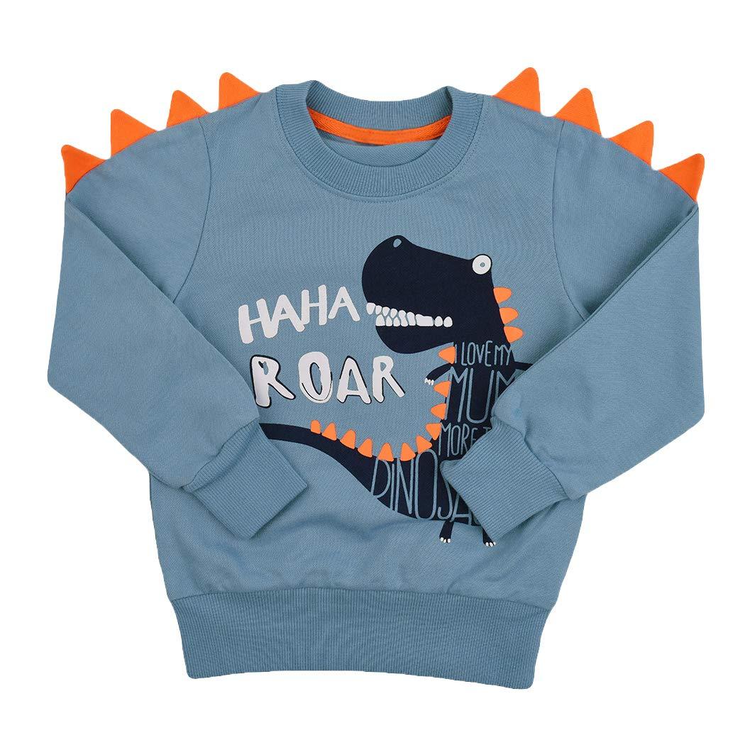 d59f78422aaf Tkria Little Kids Boys Dinosaur Sweatshirt T-Shirt Long Sleeve Tops Casual  Cotton Tee Shirts Age 2-8 Years  Amazon.co.uk  Clothing
