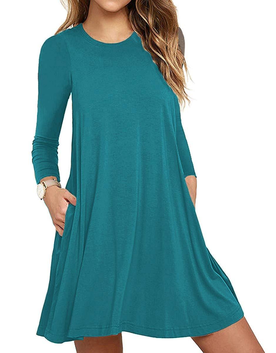 Unbranded* Women Long Sleeve Round Neck Summer Casual Loose Dress Acid Blue Medium