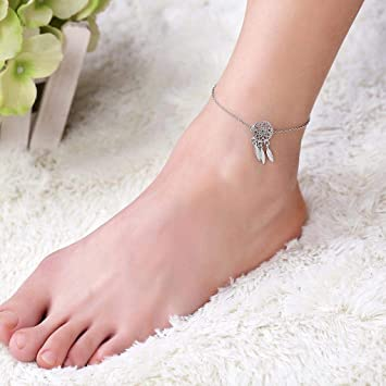 3dff88c352e2b Yalice Dainty Dreamcatcher Anklets Ankle Feather Foot ... - Amazon.com