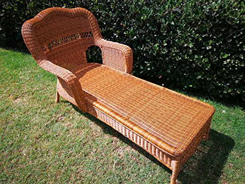 Cheap Casual Decor by Kaven Sahara Outdoor Resin Wicker Chaise Lounge (Walnut)