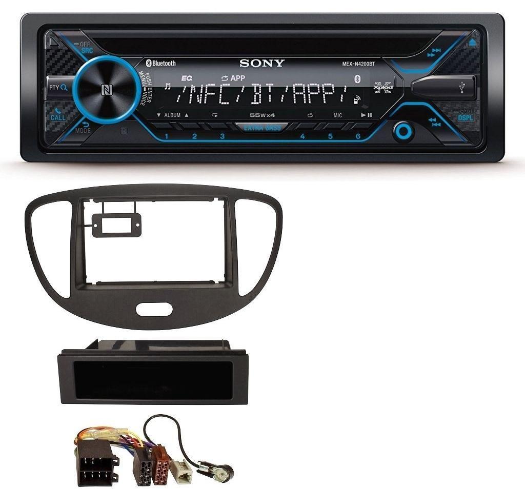 caraudio24 Sony MEX-N4200BT CD Bluetooth USB Aux MP3 Autoradio fü r Hyundai i10 (2008-2013) Schwarz