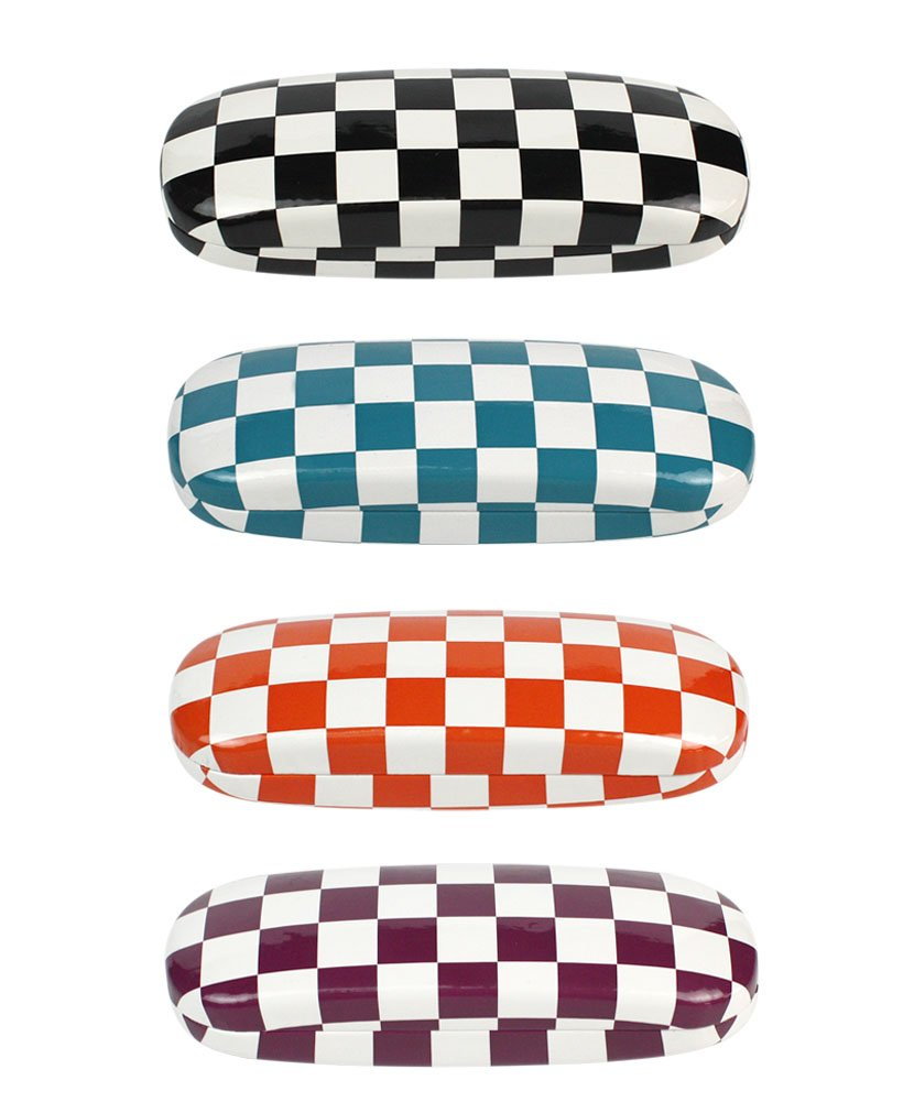 [4 PACK], JAVOedge Checkerboard Multi-Color Theme Pattern Hard Clamshell Eyeglass Storage Case w/Bonus Microfiber Cloth