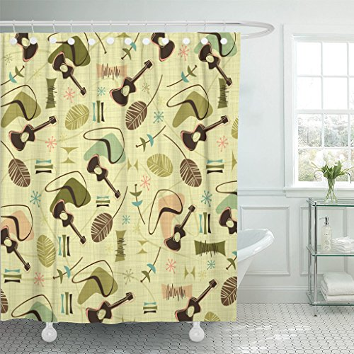 Emvency Shower Curtain Red 1950S Retro Bark Guitars Pattern Yellow Atomic Music Waterproof Polyester Fabric 60 x 72 inches Set with Hooks