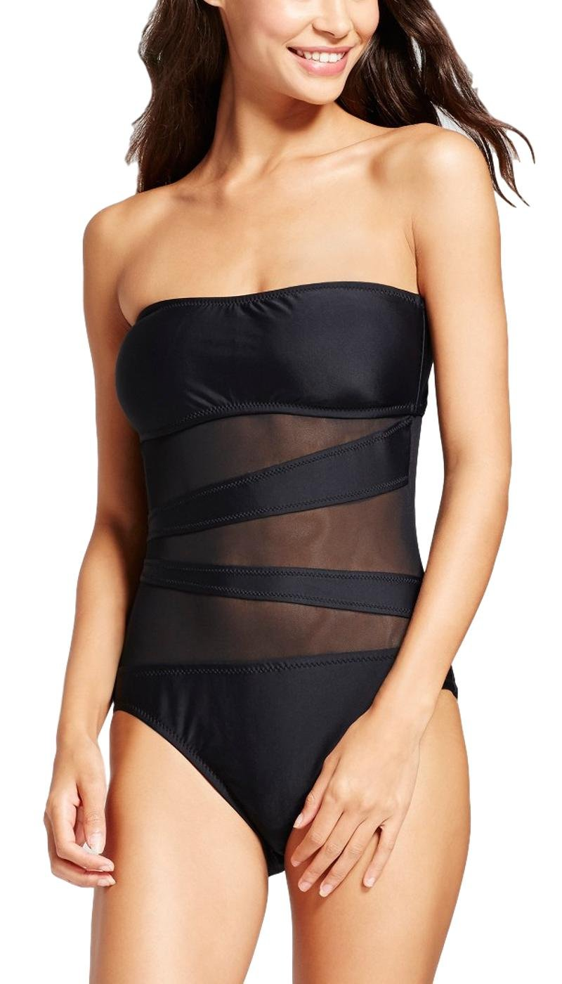 AdoreShe Women's Mesh Inset Bandeau Swimsuit,Sexy Black Slimming Halter One Piece Swimwear (Black,A18005,S)