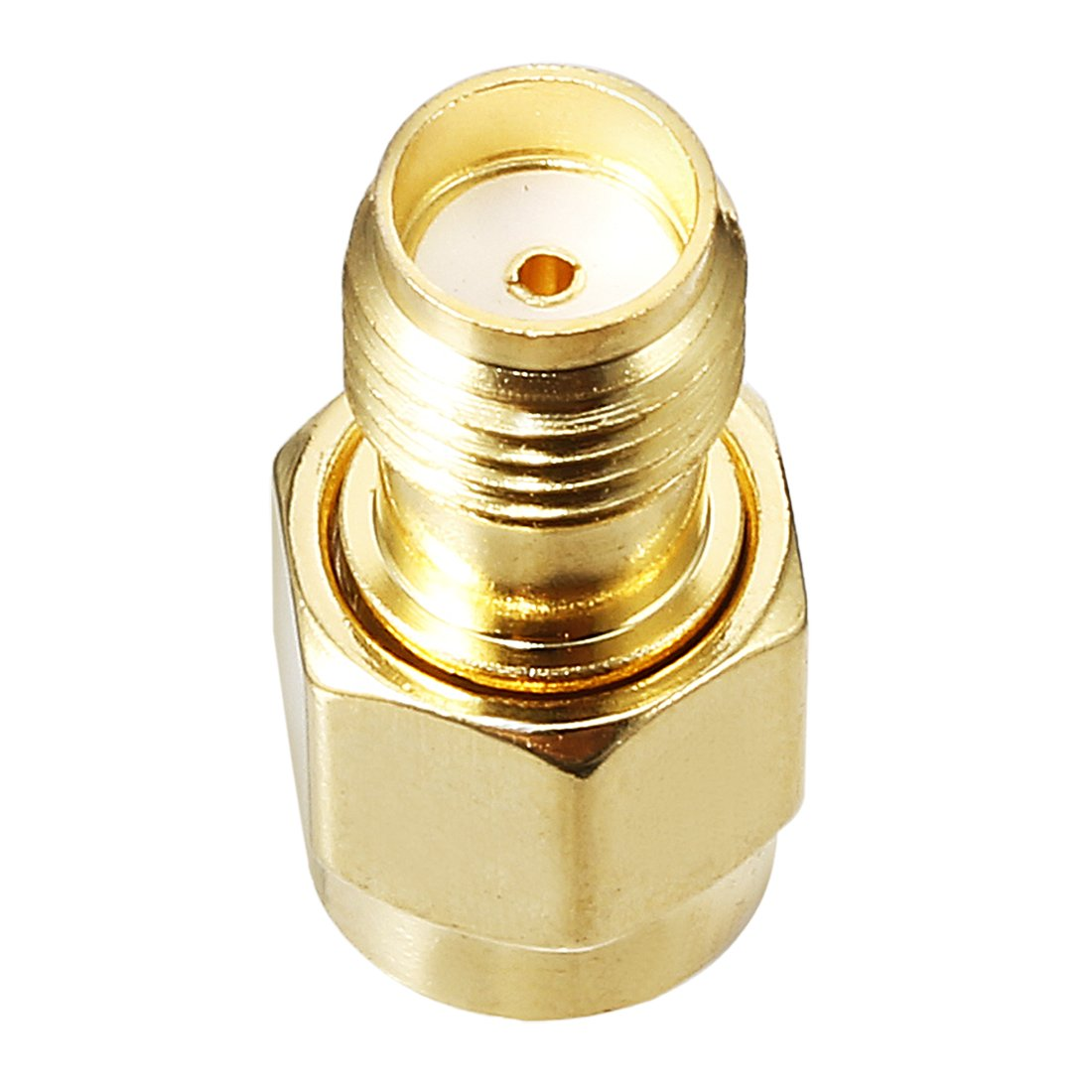 sourcing map Gold Tone Metal RP-SMA Male to SMA Female Jack RF Coaxial Adapter Connector