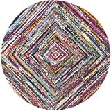 Safavieh Nantucket Collection NAN513A Handmade Abstract Multicolored Cotton Round Area Rug (6′ Diameter) Review