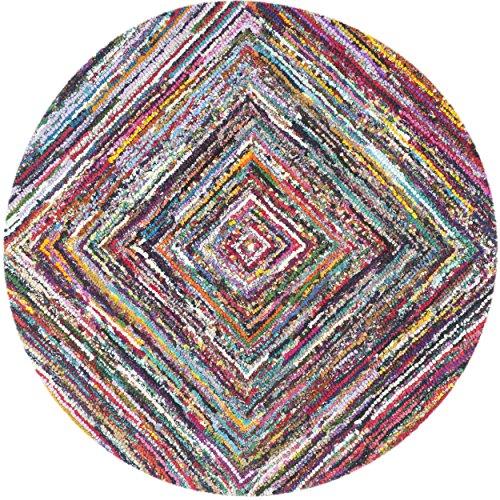 Safavieh Nantucket Collection NAN513A Handmade Abstract Multicolored Cotton Round Area Rug (6