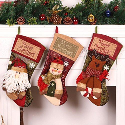 PickUrStyle Christmas Stockings 3Pcs Set 18 Inch Cute Santa Wapiti Snowman Fireplace Stockings Plush 3D Applique