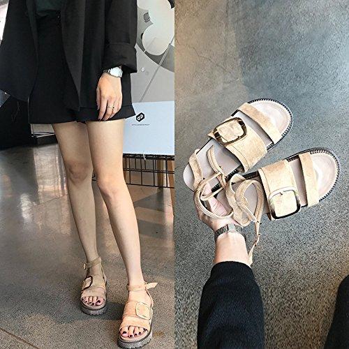 con nuova con fondo estate spesso albicocca FJJJDJKCF sandali di semplici Parola focaccina selvaggio qIRSOEwS