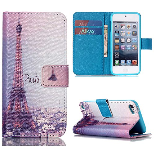 iPod Touch 5 Case, iPod Touch 6 Case, Alkax Premium PU Leather Wallet Kickstand Magnet Flip Folio Stand Protective Cover with Card ID Card Slots for Apple iPod Touch 5 6th Generation (Tower) (Neon Ipod Cases)
