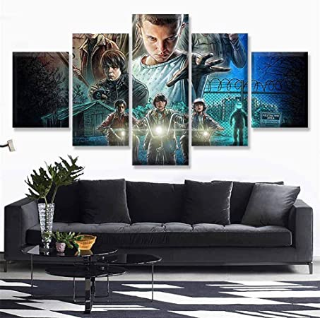 AUUUA Cuadro sobre LienzoFramed Wall Art Paint HD Print 5-Pack of Stranger Things Movie Canvas Poster Family Decoration Kids Room TV Play Character Pictures: Amazon.es: Hogar
