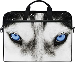 KUWT Laptop Case Animal Dog Huskie Eye Laptop Shoulder Messenger Bag Case Sleeve Crossbody Briefcase with Strap Handle for Notebook Computer