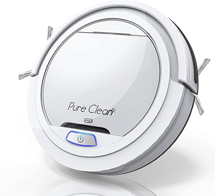 Pure Clean Robot Vacuum Cleaner - Automatic Air Filter Pet Hair Allergies Friendly Robotic Auto Home Cleaning for Clean Carpet Hardwood Floor - Bot Self Detects Stairs