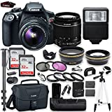 Canon EOS Rebel T6 DSLR Camera with Canon 18-55mm IS II Lens Kit + Battery Grip + Canon Case + 64GB Memory + Filters + Macros + Monopod + 50'' Tripod + Professional DSLR Bundle