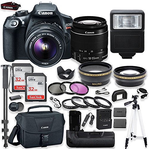 Canon EOS Rebel T6 DSLR Camera with Canon 18-55mm is II Lens Kit + Battery Grip + Canon Case + 64GB Memory + Filters + Macros + Monopod + 50″ Tripod + Professional DSLR Bundle