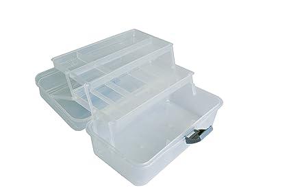 Artemio Caja de almacenaje 2 bandejas articulados, plástico, Claro, 32 x 20 x